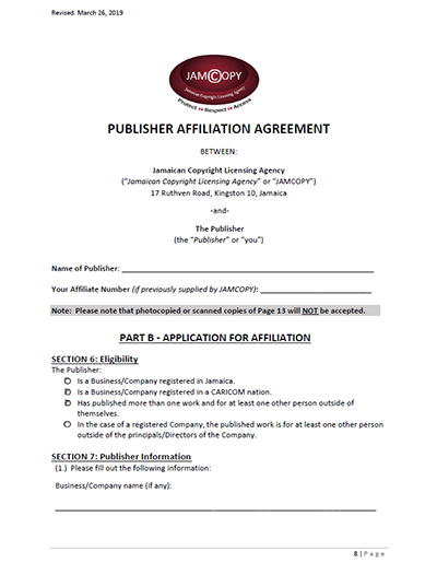 Publisher Affiliation Form Jamcopy